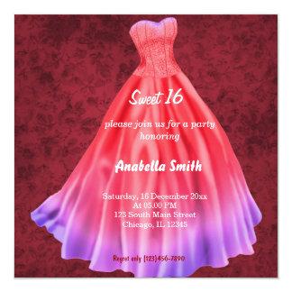 Long dress Sweet 16 (Red) Card