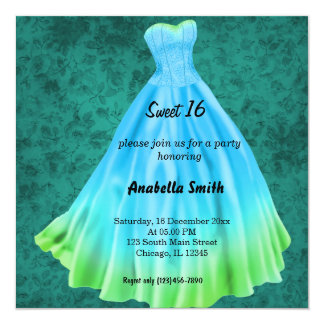 Long dress Sweet 16 (Turquoise) Card
