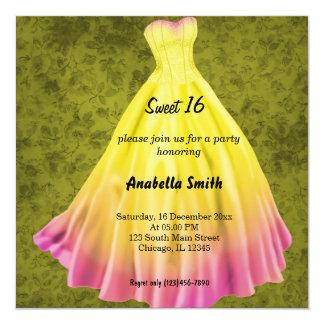 Long dress Sweet 16 (Yellow) Card