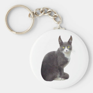 Long Eared Cat Basic Round Button Keychain
