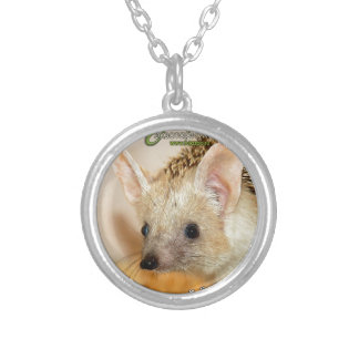 Long-eared hedgehog silver plated necklace