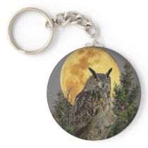LONG EARED OWL BY MOONLIGHT KEYCHAIN