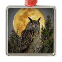 LONG EARED OWL BY MOONLIGHT METAL ORNAMENT