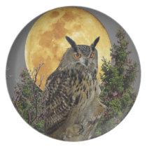LONG EARED OWL BY MOONLIGHT PLATE