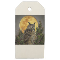 LONG EARED OWL BY MOONLIGHT WOODEN GIFT TAGS