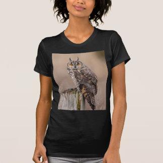 Long-eared owl on a stump t-shirts