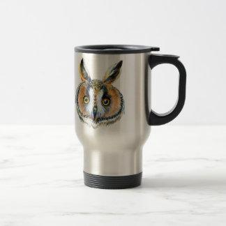 Long- eared owl portrait travel mug