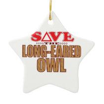 Long-Eared Owl Save Ceramic Ornament