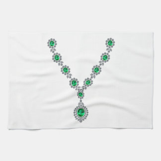 Long Emerald Necklace with Pendant Hand Towel