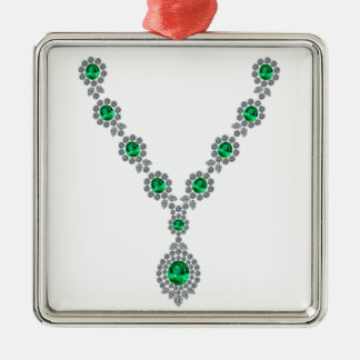 Long Emerald Necklace with Pendant Metal Ornament