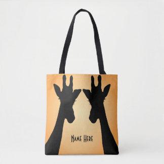 Long Eyelashes Giraffe Custom Text Tote Bag