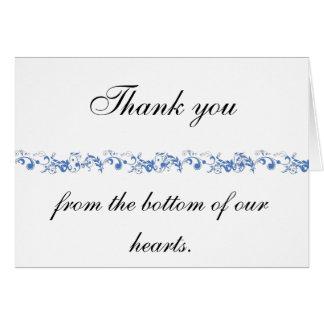 long flowery scroll blue card