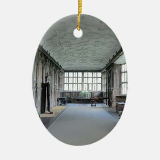 Long Gallery at Haddon Hall Double-Sided Oval Ceramic Christmas Ornament