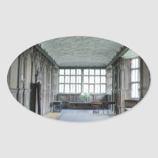 Long Gallery at Haddon Hall Oval Sticker