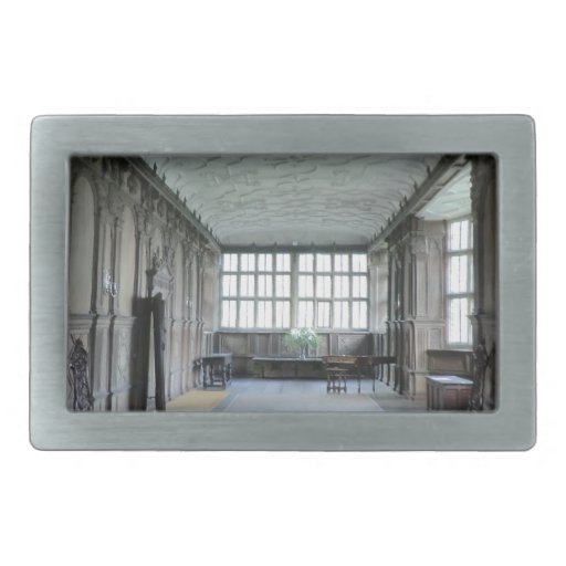 Long Gallery at Haddon Hall Rectangular Belt Buckle