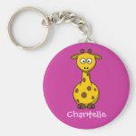 Long giraffe basic round button keychain