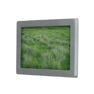 Long grasses in a vast grassland rectangular belt buckle