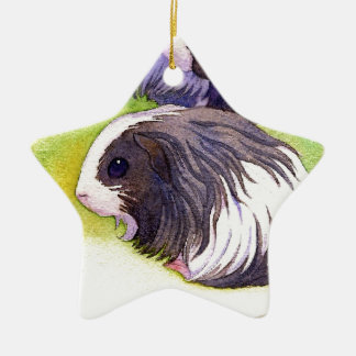 Long Hair Cavies Double-Sided Star Ceramic Christmas Ornament