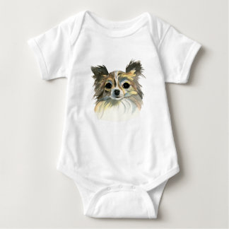 Long Hair Chihuahua Watercolor Portrait Baby Bodysuit