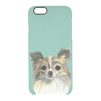Long Hair Chihuahua Watercolor Portrait Clear iPhone 6/6S Case