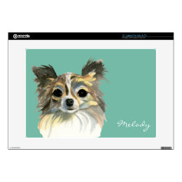 Long Hair Chihuahua Watercolor Portrait Decals For Laptops