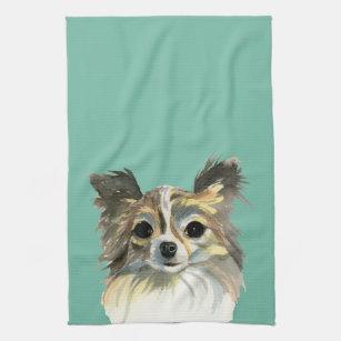 Long Hair Chihuahua Watercolor Portrait Towel