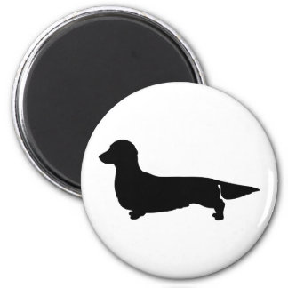 Long Hair Dachshund Round Magnet