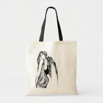 artsprojekt, woman, female, trends, fashion, contemporary, artistic, creative, girl, long hair, hand drawn, blackandwhite, Bag with custom graphic design
