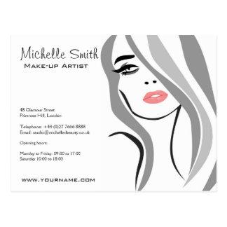 Long Hair hairdresser make up artist  branding Postcard