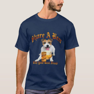 long hair Jack Russell Shares A Beer T-Shirt