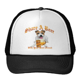 long hair Jack Russell Shares A Beer Trucker Hat