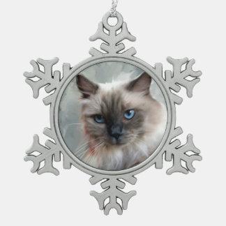 Long Hair Ragdoll Cat Snowflake Pewter Christmas Ornament