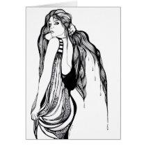 artsprojekt, woman, female, trends, fashion, contemporary, artistic, creative, girl, long hair, hand drawn, blackandwhite, Card with custom graphic design