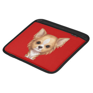 Long-Haired Beige and White Chihuahua Sleeve For iPads