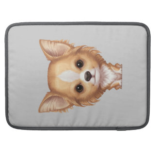 Long-Haired Beige and White Chihuahua Sleeve For MacBook Pro