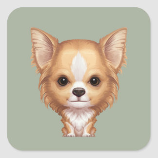 Long-Haired Beige and White Chihuahua Square Sticker
