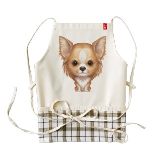 Long-Haired Beige and White Chihuahua Zazzle HEART Apron
