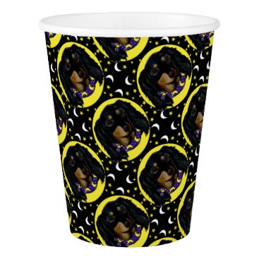 Halloween Themed Long Haired Black Dachshund Paper Cup