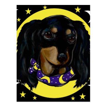 Halloween Themed Long Haired Black Dachshund Postcard