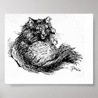 Long Haired Cat Artwork Poster