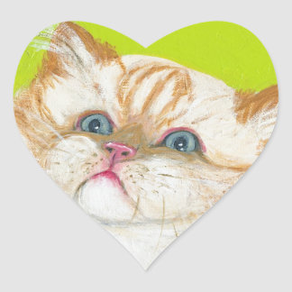 Long Haired Cat Painting by Ania M Milo Heart Sticker