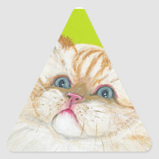 Long Haired Cat Painting by Ania M Milo Triangle Sticker