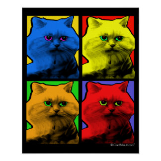 Long Haired Cat Pop Art By Request Poster