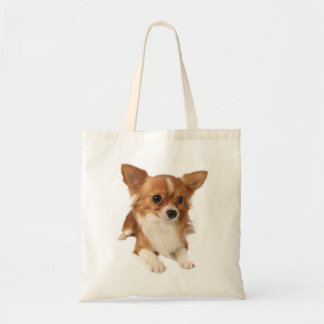 Long Haired Chihuahua Brown And White Puppy Dog Tote Bag