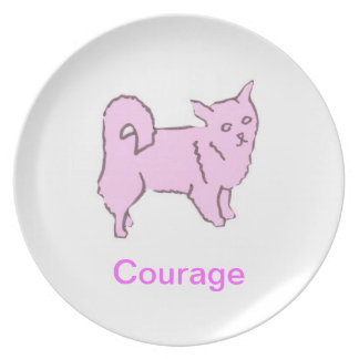 Long Haired Chihuahua Cancer Awareness Plate