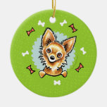 Long Haired Chihuahua Christmas Wreath Double-Sided Ceramic Round Christmas Ornament