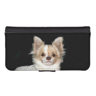 Long haired chihuahua face iPhone 5 wallet