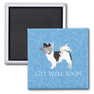 Long-haired Chihuahua Get Well Soon Design 2 Inch Square Magnet