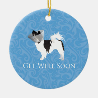 Long-haired Chihuahua Get Well Soon Design Ceramic Ornament