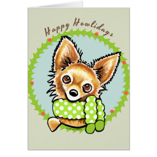 Long Haired Chihuahua Happy Howlidays Card